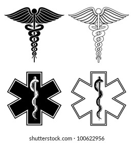 Caduceus and Star of Life Medical Symbols is an illustration of a Caduceus and Star of Life medical symbols in black and white.