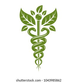Caduceus symbol, healthcare conceptual vector illustration. Homeopathy creative emblem.