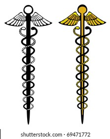 Caduceus - symbol of medicine and commerce. Both images on different layers.