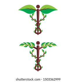 caduceus, symbol of medicine with floral and organic style design