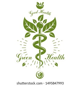 Caduceus vector conceptual emblem created with mortar and pestle. Wellness and harmony metaphor. Alternative medicine concept, phytotherapy logo.