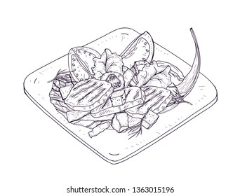 Caesar salad on plate hand drawn with contour lines on white background. Delicious restaurant meal made of chicken, lettuce leaves, fresh vegetables and croutons. Realistic vector illustration.
