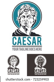 Caesar is a template logo in vector format, completely re-sizable and in color and black and white versions. Is a bust of the Roman emperor Julius Caesar, with its laurel wreath, in all his splendor.