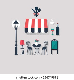 cafe background Paris tourist concept image. Flat vector french