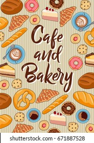 Cafe and bakery - vector illustration with hand drawn coffee cups, cookies, donuts, pretzels,breads  and cakes