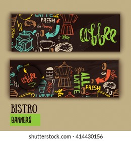 Cafe banner template design with lettering for coffee shop. Hand drawn menu design. Modern hipster colorful cafe menu. Vector illustration of cafe banners