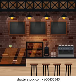 Cafe, bar or coffee shop interior. Vector illustration