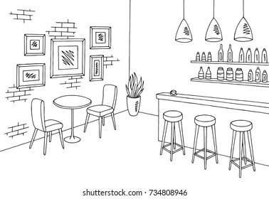 Cafe bar graphic black white interior sketch illustration vector