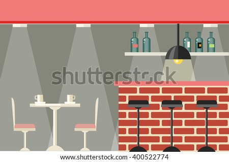 Cafe or bar interior design flat. Iinterior of a cafe or a pub with furniture table and chairs. Bar brick counter with a large selection beverages illuminated with bright lights. Vector illustration