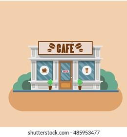 Cafe building shop facade. Vector flat illustration