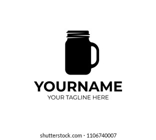 Cafe, caffe with mason jar, logo template. Fast food and drink, natural and organic products, vector design, illustration