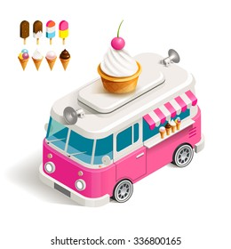 Cafe car Ice cream on wheels. Stock vector color isometric illustration Van