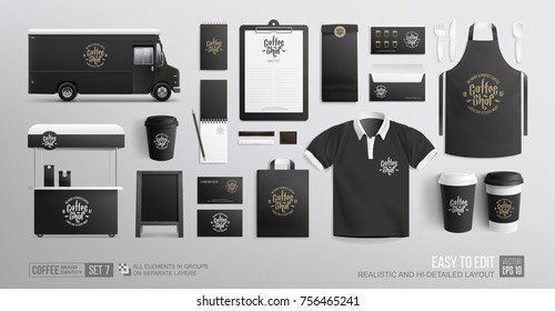 Cafe, Coffee, Food truck - black corporate identity branding Mockup. Realistic Restaurant MockUp set of food truck, uniform, cart, envelope, cup, paper pack, bag, menu. Coffee, Fast food package