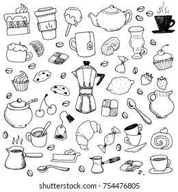 Cafe Coffee Shop and Dessert Hand Drawn Food Doodle Vector Set