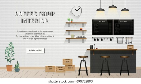 Cafe and Coffee Shop Interior design on brick wall banner with text and read more button  for website or cover