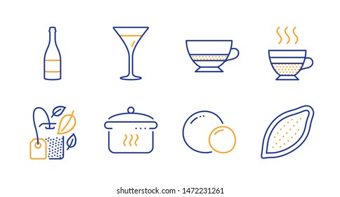 Cafe creme, Bombon coffee and Mint bag line icons set. Peas, Martini glass and Champagne bottle signs. Boiling pan, Cocoa nut symbols. Hot coffee, Cafe bombon. Food and drink set. Vector