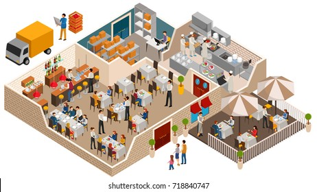 Cafe, family restaurant interior concept, vector illustration in flat isometric design. People sit at the table and eating.