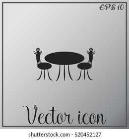 Cafe furniture icon. Table and chairs icon