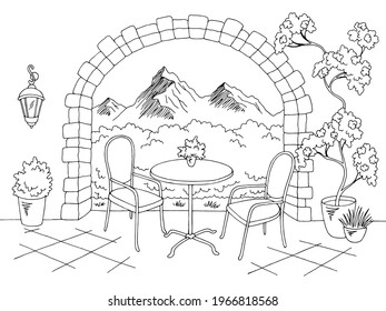 Cafe garden terrace graphic table chair black white sketch illustration vector