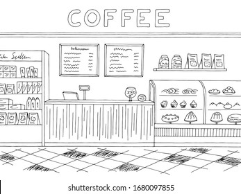 Cafe graphic black white interior sketch illustration vector