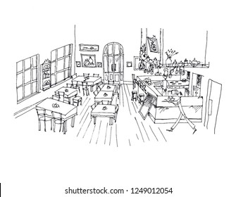 Cafe hand drawn linear illustration. Restaurant, canteen, eatery, bistro interior black ink pen sketch. Catering service freehand contour drawing. Serving waiters perspective outline vector