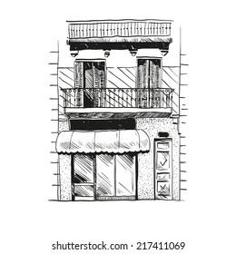Cafe hand drawn, vector illustration