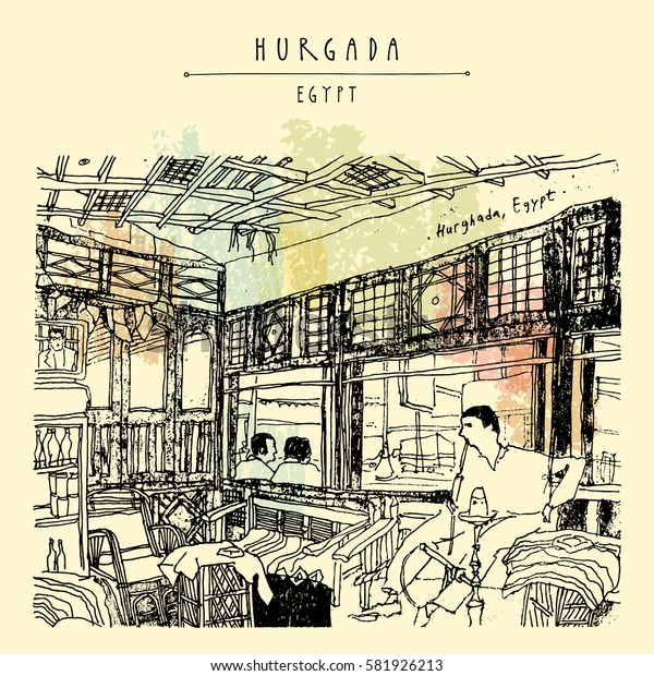 Cafe in Hurghada, Egypt, North Africa. Man smoking shisha (hookah). Bamboo furniture, wooden interior. Hand-drawn vintage book illustration, postcard or poster template in vector