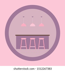 Cafe icon. Restaurant modern interior element. Shopping store building. Bar stool symbol. Hanging Lamp bulb silhouette. Home lighting logo. Chandelier Vector illustration. Table and chairs simbol