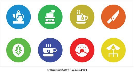cafe icon set. 8 filled cafe icons.  Collection Of - Teapot, Sourdough, Coffee grinder, Tea, Donut, Knife, Terrace