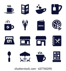 Cafe icons set. set of 16 cafe filled icons such as crab, store, coffee, spoon, cup with heart, tea cup, cup, pizza, shop, menu