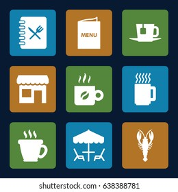 Cafe icons set. set of 9 cafe filled icons such as crab, coffee, menu, tea, store, mug