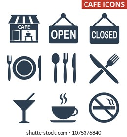 Cafe icons set on white background. Vector illustration