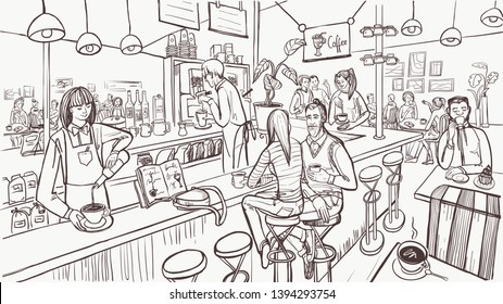 Cafe interior and people in sketch style. Modern cafe concept. Vector illustration.