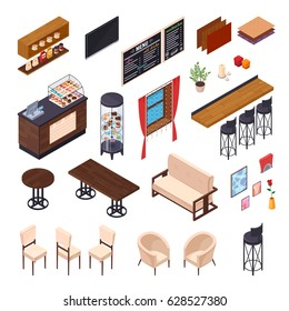 Cafe interior restaurant pizzeria bistro canteen isometric elements set of isolated furniture and shop display images vector illustration