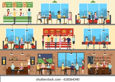 Cafe interior set. Pizza, fast food and sport bar.