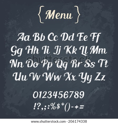 Cafe Menu Board Chalk Alphabet Vector Stock Vector Royalty Free
