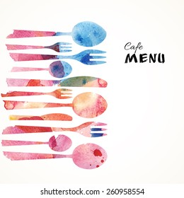 Cafe Menu Card Design template. Watercolor flatware background. Vector Illustration.