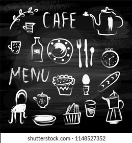 Cafe menu and food icons on the blackboard. Sketchy design, vector graphic illustration