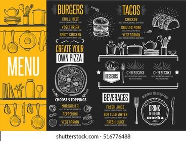 Cafe menu food placemat brochure, restaurant template design. Creative vintage brunch flyer with hand-drawn graphic.