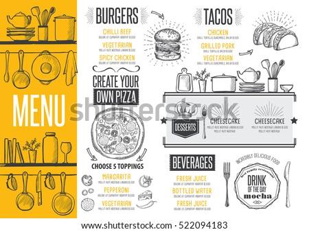 cafe menu food placemat brochure restaurant のベクター画像素材