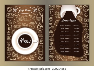 Cafe menu with hand drawn doodle elements and cup of coffee. Vector illustration for menu, posters, prints, banners, web design, covers