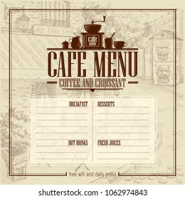 Cafe menu list with vintage graphic illustration of an old style street cafe on a backdrop. Copy space for text