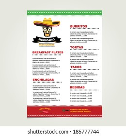 Cafe menu mexican, template design.Vector illustration.