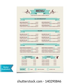 Cafe menu, template design.Vector illustration.