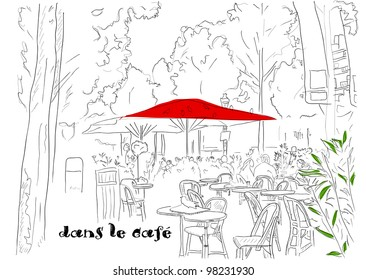 Cafe on the Champs-Elysees. Vector illustration eps8