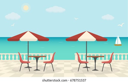 Cafe on the terrace near the sea. Sea landscape. Vector illustration.