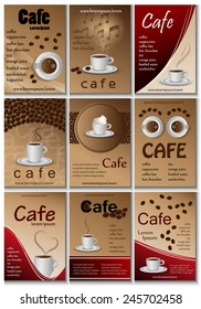 Cafe Placard Template Set - Vector Illustration, Graphic Design, Editable For Your Design