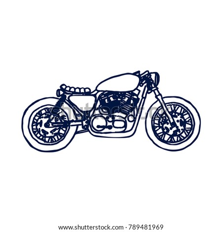 Cafe Racer Bike Hand Drawn On Stock Vector Royalty Free 789481969