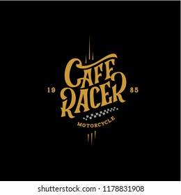Cafe Racer Motorcycle Retro Lettering