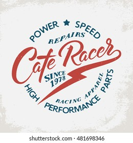 Cafe Racer. Motorcycle signs on grunge background. Design element for t-shirt print, poster, emblem, badge, sign.